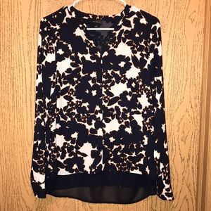 The Limited brand navy, cream and orange blouse